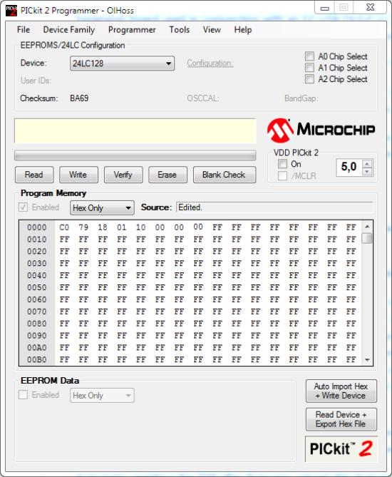 Pickit2 EEPROM settings