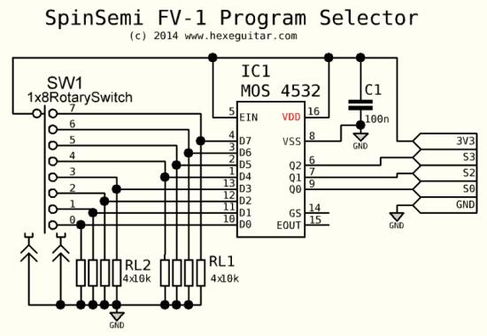 FV1 Program Selector schematic